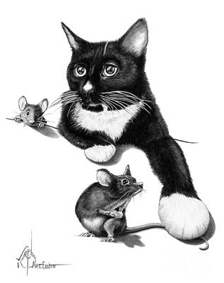 Drawing - Cat And Mouse by Murphy Elliott