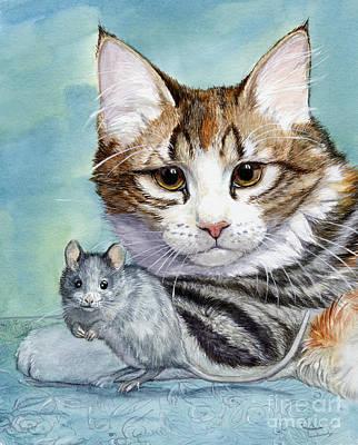 Mouse Mixed Media - Cat And Mouse by Svetlana Ledneva-Schukina