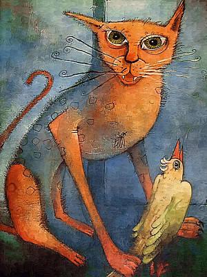 Realist Digital Art - Cat And Parrot by Art4sale