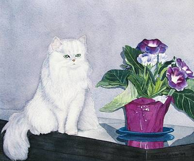 Cat And Potted Plant Art Print by Sharon Farber