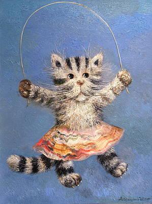 Cat And Skip Rope Art Print by Mikhail Savchenko