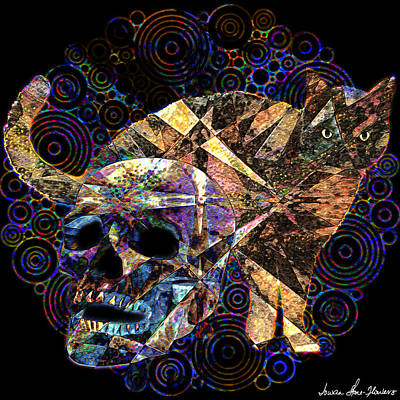 Digital Art - Cat And Skull by Iowan Stone-Flowers