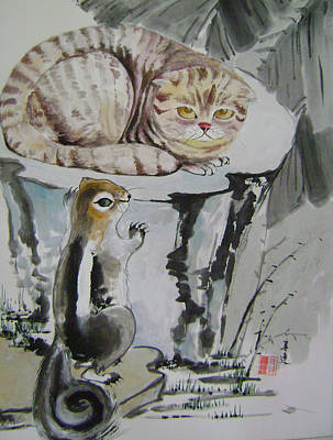 Cat And Squirrel Art Print by Lian Zhen