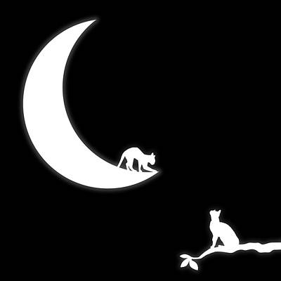 Wall Art - Digital Art - Cat And The Moon by George Michael