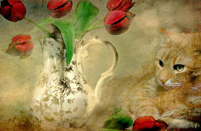 With Red. Photograph - Cat And Tulips by Diana Angstadt