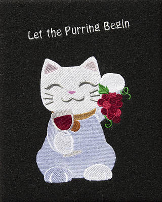 Cat And Wine Art Print by Sally Weigand