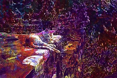 Digital Art - Cat Animal Pet Rest Fauna  by PixBreak Art