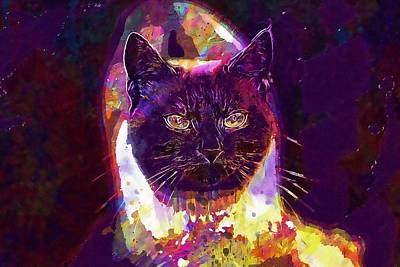 Digital Art - Cat Animal Siamese Cat Face  by PixBreak Art