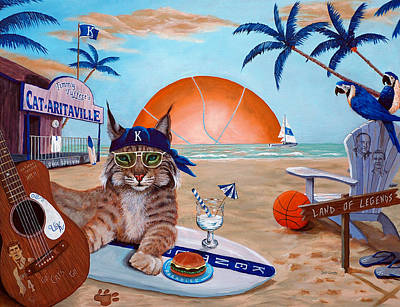 Cat-aritaville Print by Jeff Conway
