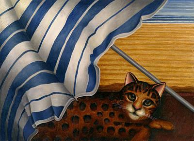 Cat At Beach Art Print by Carol Wilson