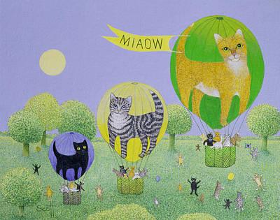 Fun Cats Drawing - Cat Balloon Race by Pat Scott