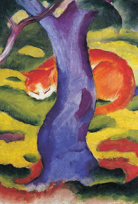 Cat Behind A Tree Art Print by Franz Marc