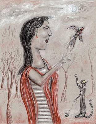 Pastel - Cat Bird by Jim Taylor