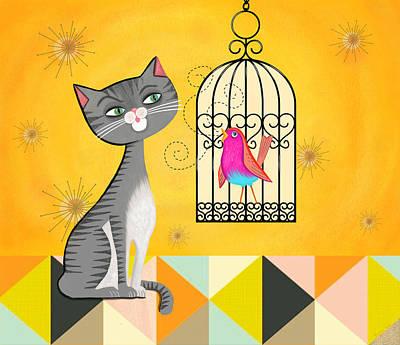Cat Bird Seat Art Print