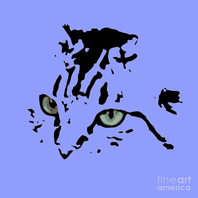 Cat Black Abstract Art Purple Background Art Print by Pablo Franchi