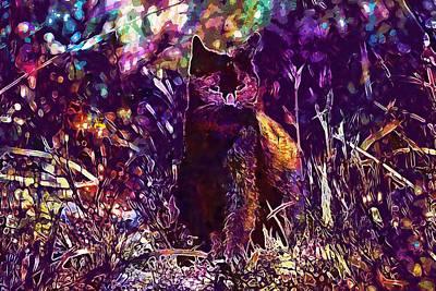 Digital Art - Cat Black Sun Meadow  by PixBreak Art