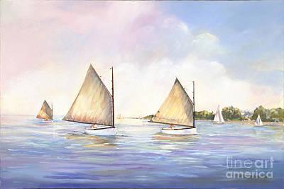 Cat Boats At Play Art Print by P Anthony Visco