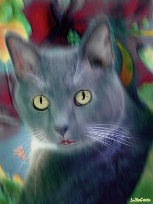 Digital Art - Cat Boticas Portrait 2 by Miss Pet Sitter