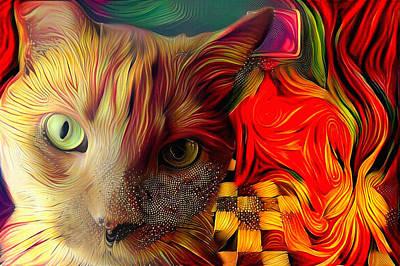 Watercolor Pet Portraits Digital Art - Cat by Bruce Rolff