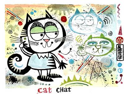 Keeping In Touch Drawing - Cat Chat  by Alan Benge