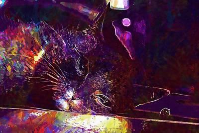 Digital Art - Cat Chili Peppers Mackerel Mieze  by PixBreak Art