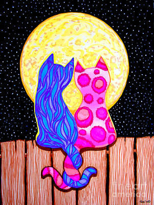 Fence Drawing - Cat Couple Full Moon by Nick Gustafson
