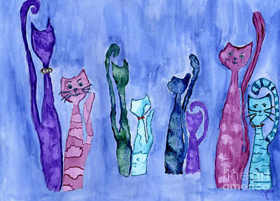 Painting - Cat Couples by Julia Stubbe