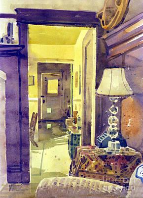Watercolor Cat Painting - Cat Door by Donald Maier