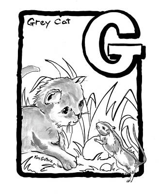 Wall Art - Painting - Cat Drawing Grey Cat by Kim Guthrie