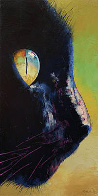 Black Face Painting - Cat Eye by Michael Creese