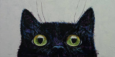 Funny Cat Painting - Cat Eyes by Michael Creese