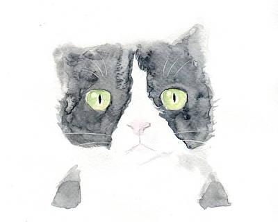 Painting - Thinking Cat by Kazumi Whitemoon