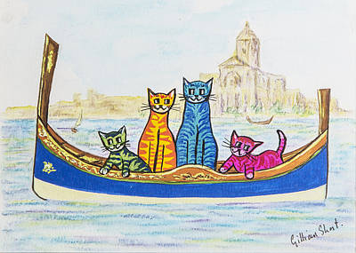 Moggy Painting - Cat Family In Grand Harbour Malta by Gillian Short