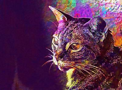 Brindle Digital Art - Cat Feline Pet Brindle Cat Head  by PixBreak Art