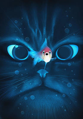 Aquatic Digital Art - Cat Fish by Nicholas Ely