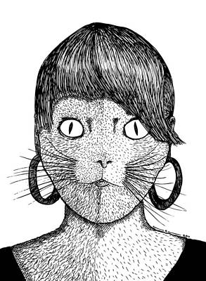 Cat Frau Art Print