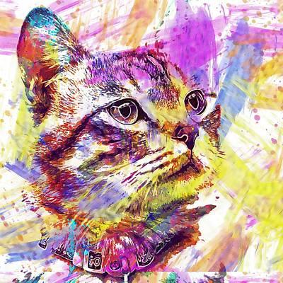 Digital Art - Cat Gaze Wait  by PixBreak Art