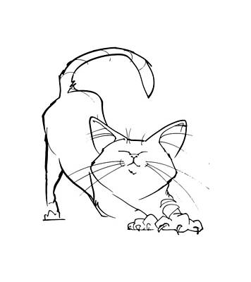 Drawing - Cat Gesture Sketch by John LaFree