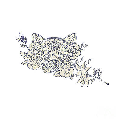 Cat Head Jasmine Flower Mandala Art Print