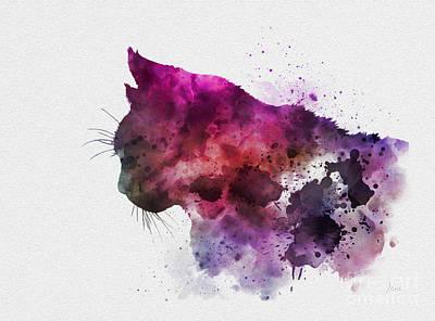 Mixed Media - Cat Head by Rebecca Jenkins