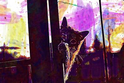 Digital Art - Cat Hiding Place Autumn Stainless  by PixBreak Art