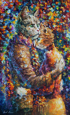 Painting -  Cat Hug   by Leonid Afremov