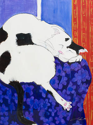 Painting - Cat IIi Peaceful   by Leela Payne
