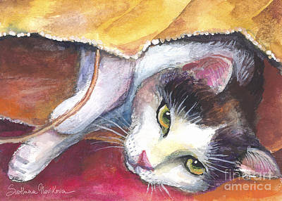 Watercolor Pet Portraits Wall Art - Painting - Cat In A Bag Painting by Svetlana Novikova