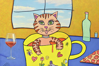 Painting - Cat In A Cup by James W Johnson
