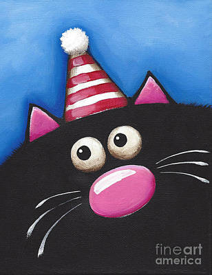 Fat Cat Wall Art - Painting - Cat In A Party Hat by Lucia Stewart