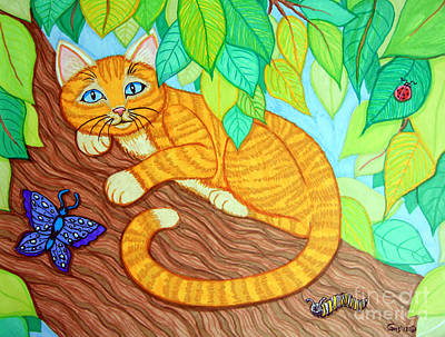 Animals Drawings - Cat in a Tree by Nick Gustafson