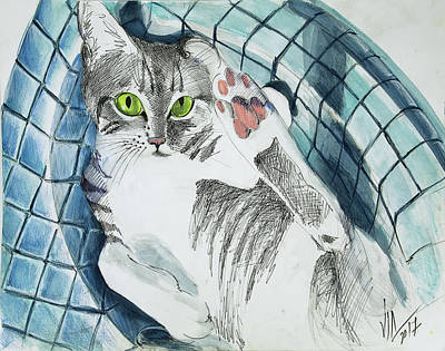 Painting - Cat In A Turkish Sink  by Vali Irina Ciobanu