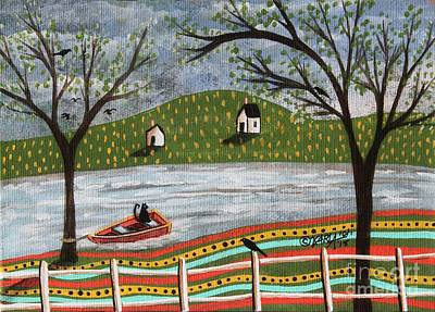 Folk Art Painting - Cat In Boat 1 by Karla Gerard