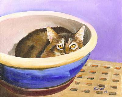 Painting - Cat In Bowl by Mary Jo Zorad